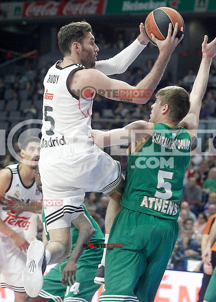 Real Madrid's Rudy Fernandez (l) and Panathinaikos Athens' Vasilis Charalampopoulos during Euroleague match.January 22,2015. (ALTERPHOTOS/Acero) /NortePhoto<br /> NortePhoto.com