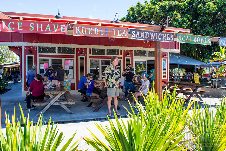 Outdoor dining near the famous Hilo Farmers Market on Mamo Street in downtown Hilo, Big Island of Hawai'i.