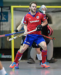 GER - Mannheim, Germany, November 28: During the 1. Bundesliga Sued Herren indoor hockey match between Mannheimer HC (red) and TG Frankenthal (white) on November 28, 2015 at Irma-Roechling-Halle in Mannheim, Germany. Final score 7-7 (HT 3-3). (Photo by Dirk Markgraf / www.265-images.com) *** Local caption *** Maximilian Neumann #24 of Mannheimer HC