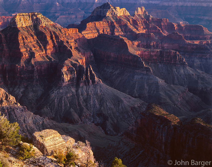 AZGC_03 - Evening light on flat-topped Deva Temple (left) and Brahma Temple (right), view south from Bright Angel Point, North Rim, Grand Canyon National Park, Arizona, USA --- (4x5 inch original, File size: 6100x4800, 83.8mb uncompressed)