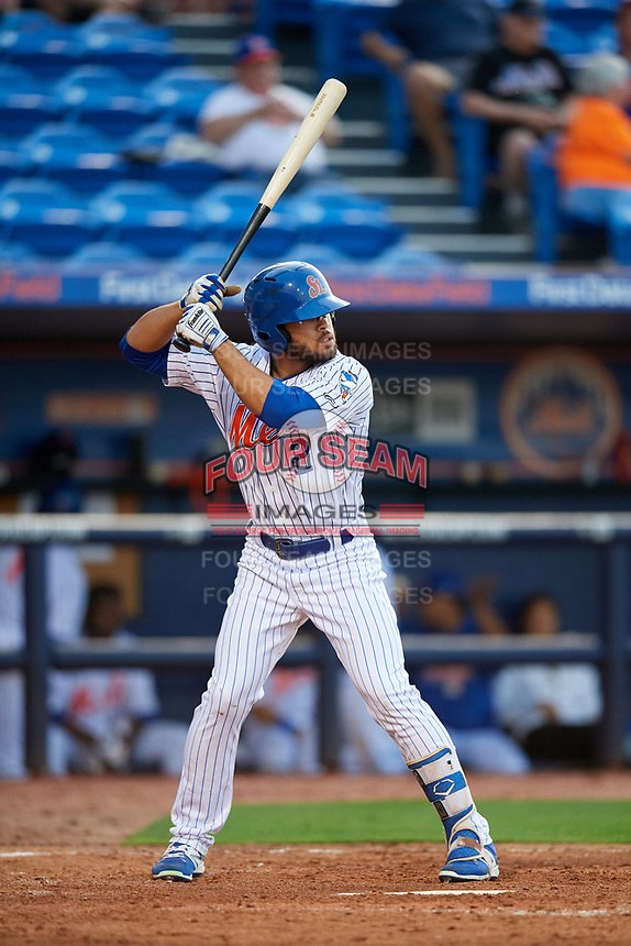 St. Lucie Mets center fielder Desmond Lindsay (2) at bat during the first game of a doubleheader against the Charlotte Stone Crabs on April 24, 2018 at First Data Field in Port St. Lucie, Florida.  St. Lucie defeated Charlotte 5-3.  (Mike Janes/Four Seam Images)
