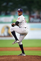 Mahoning Valley Scrappers relief pitcher Luis Jimenez (38) during a game against the Batavia Muckdogs on August 18, 2016 at Dwyer Stadium in Batavia, New York.  Batavia defeated Mahoning Valley 2-1.  (Mike Janes/Four Seam Images)