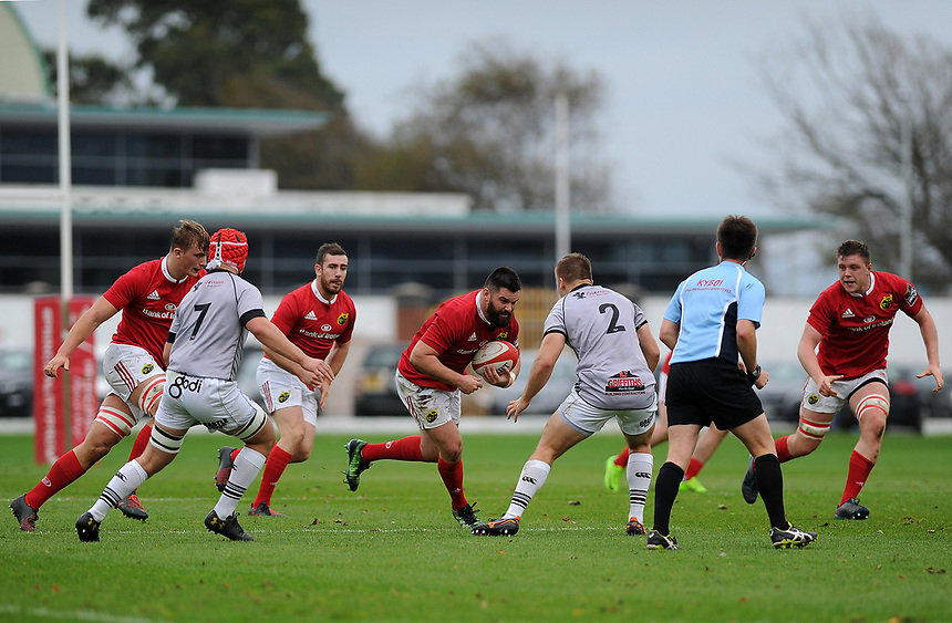 Munster A&rsquo;s Kevin O&rsquo;Byrne in action during todays match<br /> <br /> Photographer Ashley Crowden/CameraSport<br /> <br /> The British &amp; Irish Cup Pool 1 - Ospreys Premiership Select v Munster A - Saturday 14th October 2017 - St Helen's, Swansea<br /> <br /> World Copyright &copy; 2017 CameraSport. All rights reserved. 43 Linden Ave. Countesthorpe. Leicester. England. LE8 5PG - Tel: +44 (0) 116 277 4147 - admin@camerasport.com - www.camerasport.com