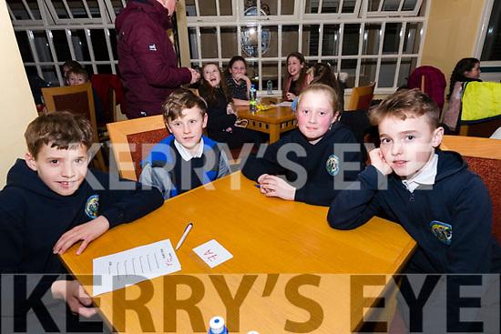 Cian Mac Gearailt, Séamus Mac Gearailt, Hannah Nic Gearailt and Cathal Ó Feorghail, from Scoil Naomh Eirc, at the Credit Union Schools Table Quiz at Benners Hotel, Dingle, on Friday night.