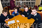 Cian Mac Gearailt, Séamus Mac Gearailt, Hannah Nic Gearailt and Cathal Ó Feorghail, from Scoil Naomh Eirc, at the Credit Union Schools Table Quiz at Benners Hotel, Dingle, on Friday night.