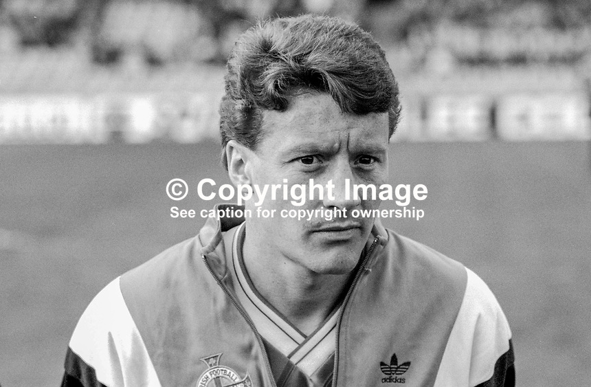Danny Wilson, footballer, N Ireland &amp; Luton Town, 198800305DW3.<br /> <br /> Copyright Image from Victor Patterson,<br /> 54 Dorchester Park, <br /> Belfast, UK, BT9 <br /> <br /> t1: +44 28 9066 1296 (from Rep of Ireland 048 90661296)<br /> t2: +44 28 9002 2446 (from Rep of Ireland 048 9002 2446)<br /> <br /> m: +44 7802 353836<br /> <br /> e: victorpatterson@me.com<br /> www.victorpatterson.com<br /> <br /> Please see my Terms and Conditions of Use at www.victorpatterson.com. It is IMPORTANT that you familiarise yourself with them.<br /> <br /> Images used on the Internet must be visibly watermarked i.e. &copy; Victor Patterson<br /> within the body of the image and copyright metadata must not be deleted. Images <br /> used on the Internet have a size restriction of 4kbs and will be chargeable at current<br />  NUJ rates unless agreed otherwise.<br /> <br /> This image is only available for the use of the download recipient i.e. television station, newspaper, magazine, book publisher, etc, and must not be passed on to any third <br /> party. It is also downloaded on condition that each and every usage is notified within 7 days to victorpatterson@me.com<br /> <br /> The right of Victor Patterson to be identified as the author is asserted in accordance with The Copyright Designs And Patents Act (1988). All moral rights are asserted.