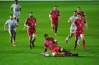 Tevita Ratuva of Scarlets in action during the European Rugby Challenge Cup Round 5 match between the Scarlets and RC Toulon at the Parc Y Scarlets in Llanelli, Wales, UK. Saturday January 11 2020