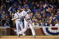Chicago Cubs Addison Russell (27) bats in the third inning during Game 3 of the Major League Baseball World Series against the Cleveland Indians on October 28, 2016 at Wrigley Field in Chicago, Illinois.  (Mike Janes/Four Seam Images)