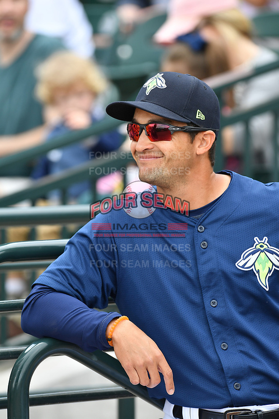 Manager Jose Leger (19) of the Columbia Fireflies before a game against the Lexington Legends on Sunday, April 23, 2017, at Spirit Communications Park in Columbia, South Carolina. Lexington won, 4-2. (Tom Priddy/Four Seam Images)