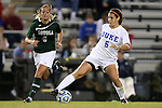 10 November 2012: Duke's Callie Simpkins (6) and Loyola Maryland's Brittany Yancey (4). The Duke University Blue Devils played the Loyola University Maryland Greyhounds at Koskinen Stadium in Durham, North Carolina in a 2012 NCAA Division I Women's Soccer Tournament First Round game. Duke won the game 6-0.