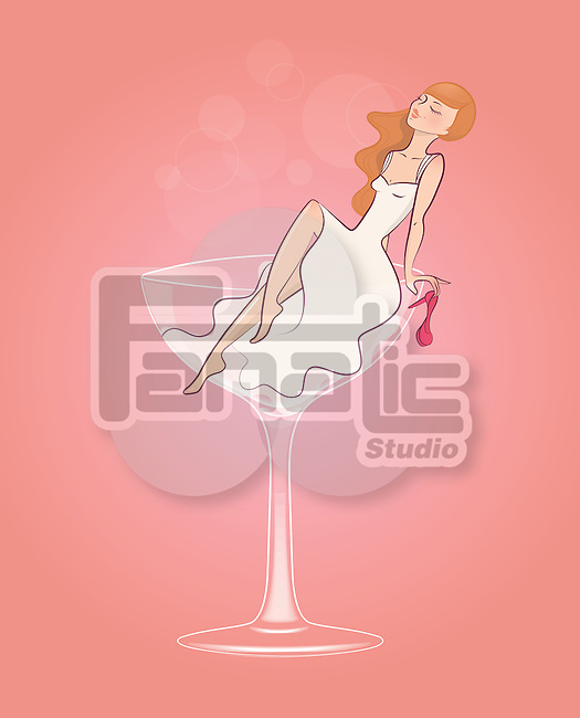 Illustrative image of bride on wineglass representing late night party