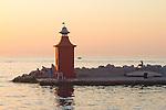 Slovenia, Piran, woman, sunset, Lighthouse, Slovenian coastal town, Istria, Istrian coast, Adriatic Sea, Europe,