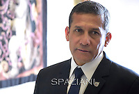 Peru's President Ollanta Humala,ope Francis meets with Peru's President Ollanta Humala during a private audience at the Vatican on November 14, 2014.
