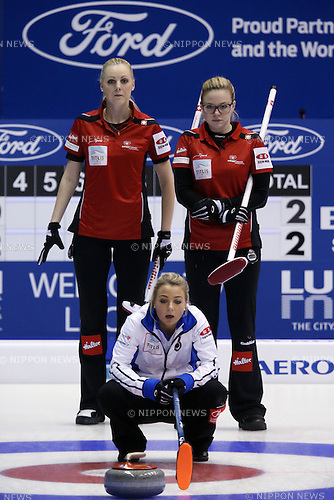 (L to R) Lehmann Nadine (SUI), Paetz Alina (SUI),  <br /> MARCH 19, 2015 - Curling : World Women's Curling Championship 2015 Round Robin match between Switzerland and Scotland at Tsukisamu Gymnasium in Sapporo, Hokkaido, Japan. (Photo by Jun Tsukida/AFLO SPORT)