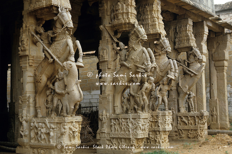 Intricate carvings of sculpted horses, Sri Ranganathaswamy Temple, Srirangam, India.