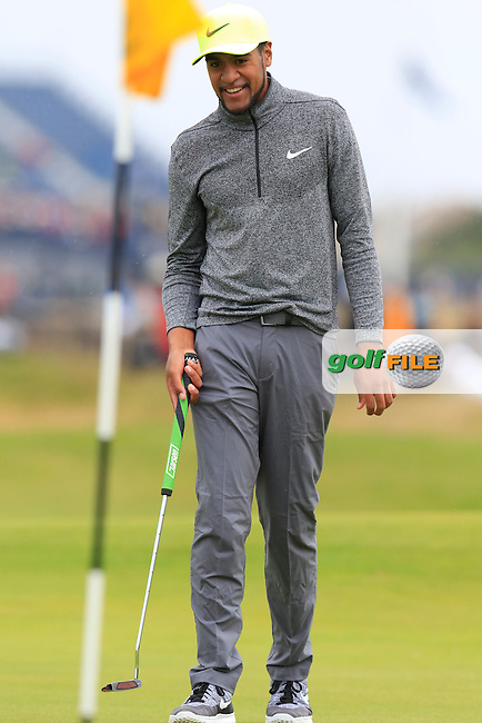 Tony Finau (USA) on the 2nd green during Saturday's Round 3 of the 145th Open Championship held at Royal Troon Golf Club, Troon, Ayreshire, Scotland. 16th July 2016.<br /> Picture: Eoin Clarke | Golffile<br /> <br /> <br /> All photos usage must carry mandatory copyright credit (&copy; Golffile | Eoin Clarke)