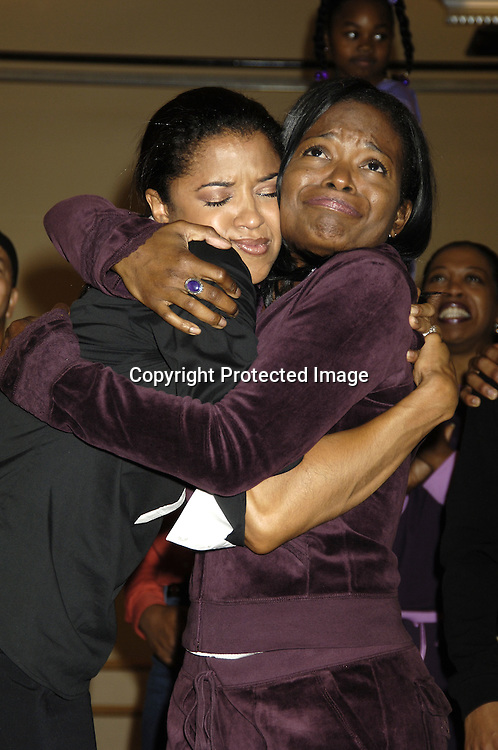 """Renee Elise Goldsberry and LaChanze..at a press rehearsal of the new musical """"The Color Purple"""" ..on October 12, 2005 at the New 42nd Street Studios. ..Photo by Robin Platzer, Twin Images"""
