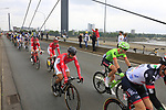 The peloton including Nacer Bouhanni (FRA) Cofidis cross Theodor-Heuss-Bridge over the River Rhine during Stage 2 of the 104th edition of the Tour de France 2017, running 203.5km from Dusseldorf, Germany to Liege, Belgium. 2nd July 2017.<br /> Picture: Eoin Clarke | Cyclefile<br /> <br /> <br /> All photos usage must carry mandatory copyright credit (&copy; Cyclefile | Eoin Clarke)