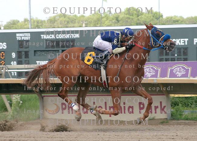 Moon Royal #6 with Carlos Cruz riding won the $75,000 Lyman Handicap at Philadelphia Park in Bensalem, Pennsylvania May 8, 2010.  Photo By Alyssa Spakowski/EQUI-PHOTO