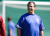 Head Coach Bruce Arena looks over the USA squad during training in Hamburg, Germany, for the 2006 World Cup, June, 8, 2006.