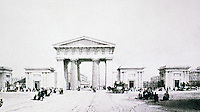 "Euston was the first inter-city railway station in London.The Euston Arch was designed by Philip Hardwick to symbolise the arrival of a major new transport system as well as being seen as ""the gateway to the north"". Columns were made from Bramley Fall stone. 1838."
