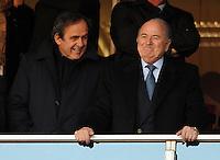 FIFA president Sepp Blatter next to UEFA President Michel Platini