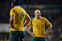 Stephen Moore of Australia looks on during a break in play. Rugby World Cup Final between New Zealand and Australia on October 31, 2015 at Twickenham Stadium in London, England. Photo by: Patrick Khachfe / Onside Images