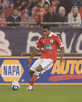SL Benfica forward Alan Kardec (31) passes the ball. SL Benfica  defeated New England Revolution, 4-0, at Gillette Stadium on May 19, 2010.