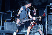 Pantera - bassist Rex Brown and guitarist Dimebag Darrell Abbott - performing live on the Main Stage at the 1997 Ozzfest held at the Sony Blockbuster Entertainment Center in Camden NJ USA - Jun 08,1997.  Photo credit: Eddie Malluk/IconicPix