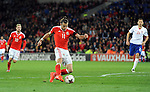 Gareth Bale of Wales shot hits the post late in the 2nd half during the FIFA World Cup Qualifying match at the Cardiff City Stadium, Cardiff. Picture date: November 12th, 2016. Pic Robin Parker/Sportimage