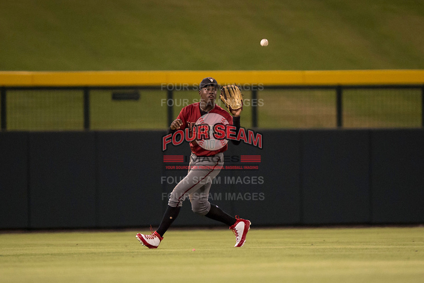 AZL Diamondbacks center fielder Kristian Robinson (10) settles under a fly ball during an Arizona League game against the AZL Cubs 1 at Sloan Park on June 18, 2018 in Mesa, Arizona. AZL Diamondbacks defeated AZL Cubs 1 7-0. (Zachary Lucy/Four Seam Images)