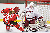 Rylee Smith (St. Lawrence - 15), Laura Bellamy (Harvard - 1) - The Harvard University Crimson defeated the St. Lawrence University Saints 8-3 (EN) to win their ECAC Quarterfinals on Saturday, February 26, 2011, at Bright Hockey Center in Cambridge, Massachusetts.