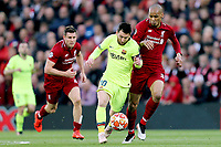Barcelona's Lionel Messi under pressure from  Liverpool's Fabinho<br /> <br /> Photographer Rich Linley/CameraSport<br /> <br /> UEFA Champions League Semi-Final 2nd Leg - Liverpool v Barcelona - Tuesday May 7th 2019 - Anfield - Liverpool<br />  <br /> World Copyright © 2018 CameraSport. All rights reserved. 43 Linden Ave. Countesthorpe. Leicester. England. LE8 5PG - Tel: +44 (0) 116 277 4147 - admin@camerasport.com - www.camerasport.com