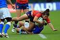 BELFAST, NORTHERN IRELAND - AUGUST 26: Spain's Patricia Garcia is brought down by  Italy's Michela Sillari during a final play off  in the Women's World Cup Rugby 2017 at Queen's  University Belfast, Saturday,  August 26, 2017. Photo/Paul McErlane