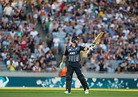 Colin Munro celebrates his 50 during the Black Caps v Australia international T20 cricket match at Eden Park in Auckland, New Zealand. 16 February 2018. Copyright Image: Peter Meecham / www.photosport.nz