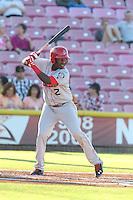 Juremi Profar #2 of the Spokane Indians bats against the Salem-Keizer Volcanoes at Volcanoes Stadium on July 26, 2014 in Keizer, Oregon. Spokane defeated Salem Keizer, 4-1. (Larry Goren/Four Seam Images)