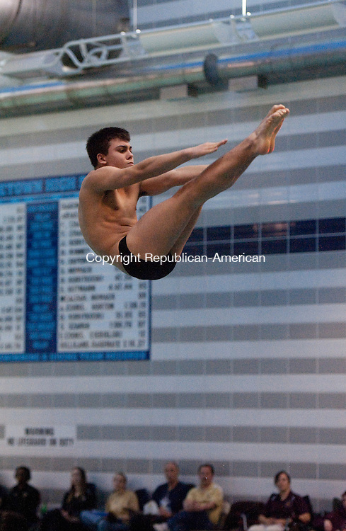 MIDDLETOWN, CT 14 MARCH 2013--031413JS04-Sacred Heart's Peter Gallino competes during the State Open diving championships Thursday at Middletown High School. .Jim Shannon Republican-American
