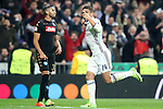 Real Madrid's Carlos Henrique Casemiro celebrates goal in presence of SSC Napoli's Faouzi Ghoulam during Champions League 2016/2017 Round of 16 1st leg match. February 15,2017. (ALTERPHOTOS/Acero)