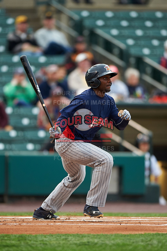 Toledo Mudhens outfielder Xavier Avery (3) at bat during a game against the Rochester Red Wings on May 12, 2015 at Frontier Field in Rochester, New York.  Toledo defeated Rochester 8-0.  (Mike Janes/Four Seam Images)