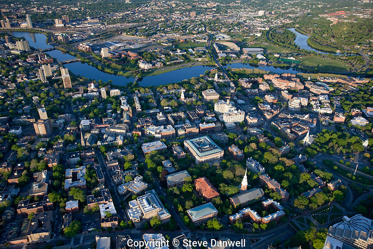 Aerial view, Harvard University, Cambridge, MA looking south to Charles River