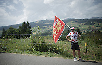 roadside flagged fan<br /> <br /> Stage 18 (ITT) - Sallanches › Megève (17km)<br /> 103rd Tour de France 2016