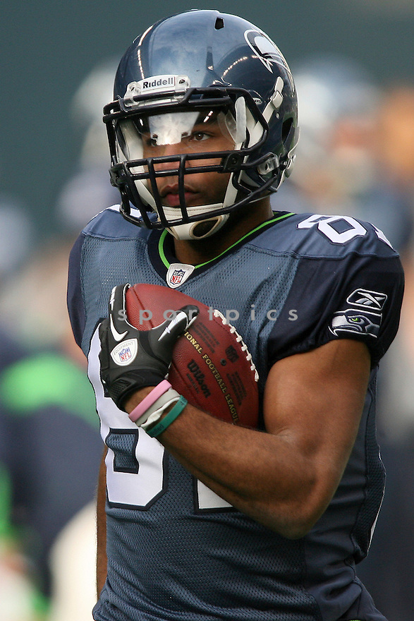December 05, 2010:  Seattle Seahawks rookie wide receiver #81 Golden Tate warms up before the game against Carolina. Seattle won 31-14 over Carolina at Quest Field in Seattle, WA.
