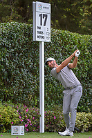 Dustin Johnson (USA) watches his tee shot on 17 during round 2 of the World Golf Championships, Mexico, Club De Golf Chapultepec, Mexico City, Mexico. 2/22/2019.<br /> Picture: Golffile | Ken Murray<br /> <br /> <br /> All photo usage must carry mandatory copyright credit (© Golffile | Ken Murray)