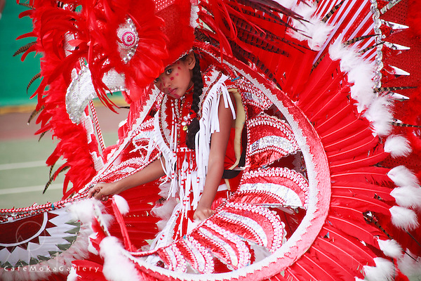 Junior Carnival - Red and white Indian queen costume representing a bird