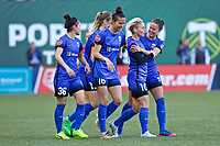 Portland, OR - Saturday May 06, 2017: Seattle Reign FC celebrate, Jess Fishlock during a regular season National Women's Soccer League (NWSL) match between the Portland Thorns FC and the Chicago Red Stars at Providence Park.