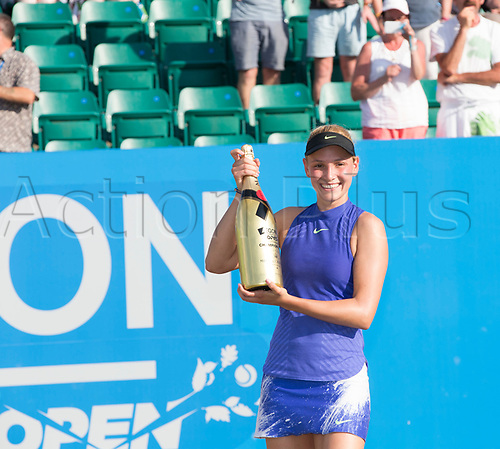 June 18th 2017, Nottingham, England; WTA Aegon Nottingham Open Tennis Tournament day 7 finals day;  Donna Vekic of Croatia with her bottle of champagne after winning the ladies singles final after her match with Johanna Konta of Great Britain