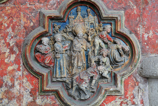 St Firmin curing the possessed, low relief plaque on the South side of the Gothic choir screen, 1490-1530, commissioned by canon Adrien de Henencourt, depicting the life of St Firmin, in the South ambulatory of the Basilique Cathedrale Notre-Dame d'Amiens or Cathedral Basilica of Our Lady of Amiens, built 1220-70 in Gothic style, Amiens, Picardy, France. St Firmin, 272-303 AD, was the first bishop of Amiens. Amiens Cathedral was listed as a UNESCO World Heritage Site in 1981. Picture by Manuel Cohen
