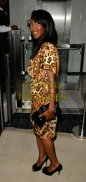 ANJELLICA BELL.ITV2 Autumn Launch Party, The Roof Gardens, London, England. .August 19th, 2008 .full length anjelica angellica angelica leopard print dress black bag clutch .CAP/CAN.©Can Nguyen/Capital Pictures.