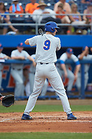 Christian Hicks (9) of the Florida Gators at bat against the Wake Forest Demon Deacons in the completion of Game Two of the Gainesville Super Regional of the 2017 College World Series at Alfred McKethan Stadium at Perry Field on June 12, 2017 in Gainesville, Florida. The Demon Deacons walked off the Gators 8-6 in 11 innings. (Brian Westerholt/Four Seam Images)