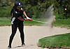 Chanel Hudson of St. Anthony's uses a sand wedge to get out of a bunker on the 12th Hole of Eisenhower Park's Blue Course during the Nassau-Suffolk CHSAA girls golf championship on Tuesday, May 16, 2017.
